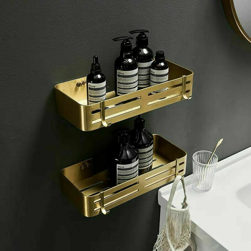 Gold Brass Wall Mounted Bath Soap Shampoo Shower Storage Rectangle Basket Shelf