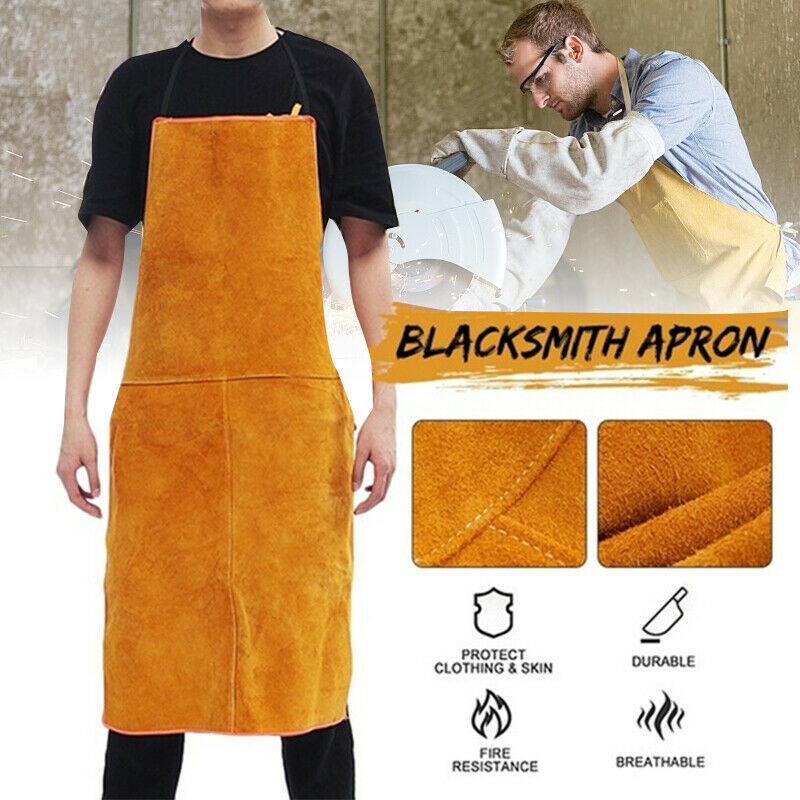 Cowhide Leather Apron Heavy Duty Fire Resistant Safety Blacksmith Work Bib New