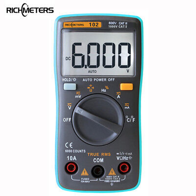 Rm102 Digital Multimeter 6000 Counts Acdc Amp Voltage Ohm Frequency Temperature