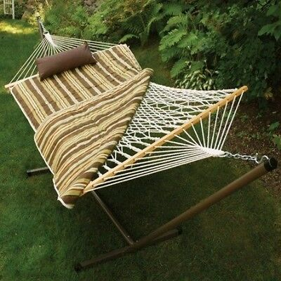 Algoma Cotton Rope Hammock, Stand, Pad & Pillow Combination