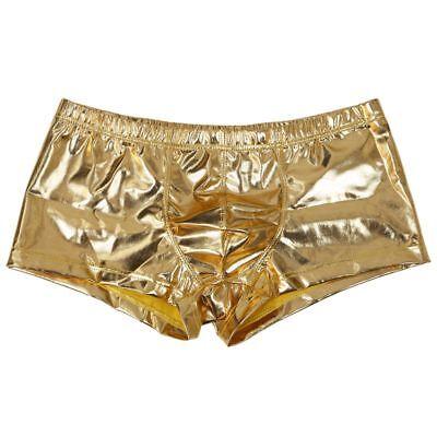 SEXY MAENNER KUNSTLEDER UNTERWAESCHE BOXERSHORTS SLIPS UNTERHOSE SHORTS GOLDE OE