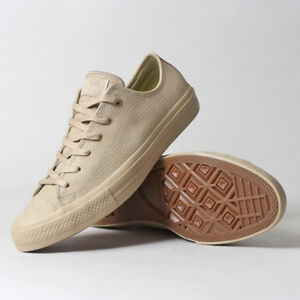 Mens Khaki Leather Converse Chuck Taylor II Lux Ox Sneakers