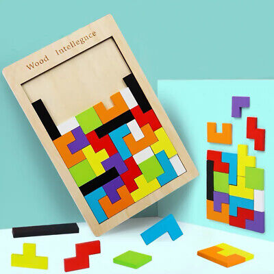 Wood Puzzle  UK Baby Toddler Montessori Tetris Brain Teaser Game Kids Wooden Toy - Toddler Puzzle Games