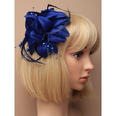Azul Marino Con Colgante Perlas Tocado con Clip, para Bodas,Carreras,Graduación