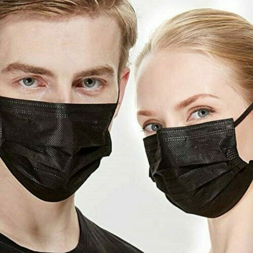 NEW [50PCS]BLACK FACE MASK DISPOSABLE NON MEDICAL SURGICAL 3-PLY EARLOOP MOUTH COVER
