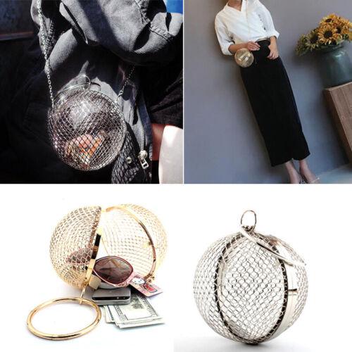Clutch Hohl Metall Net Bag Tasche Steampunk Kugelform Handtasche Damen mit Kette