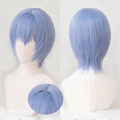 NEON GENESIS EVANGELION EVA Ayanami Rei Short Light Blue Cosplay Hair Wig + Cap](Neon Blue Wig)