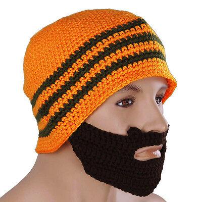 Soft Handcrafted Beardo Orange with Dark Brown Beard Beanie Bearded Hat