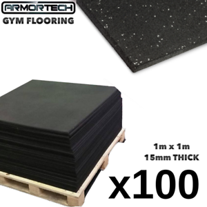 Rubber Flooring 100 Pack- Commercial 1m x 1m x 15mm