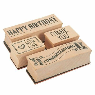 4-Piece Card Making Stamps Set, Wood Mounted Rubber Stamps for DIY Art & Crafts