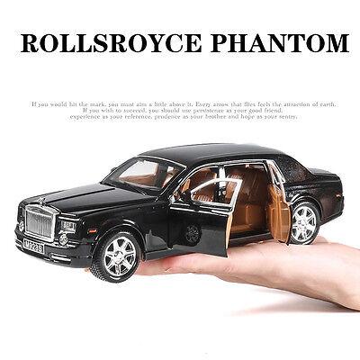 1:24 Rolls-Royce Phantom Metal Diecast Model Car Toy Sound&Light Black With Box