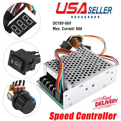 Led Reversible Display 12v 24v 48v Max.60a Pwm Dc Motor Speed Controller Cw Ccw