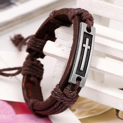Dark Brown Leather Christian Cross Shape Bracelet, Adjustable