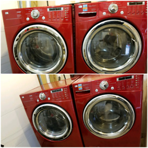 Red Lg tromm stackable steam washer and dryer