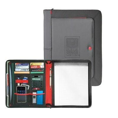 Black Professional Leather Padfolio Portfolio Organizer Folder Resume Zipper