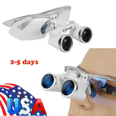 Us Optical Dental Dentist Surgical Binocular Magnifier Loupesglasses 3.5x 420mm