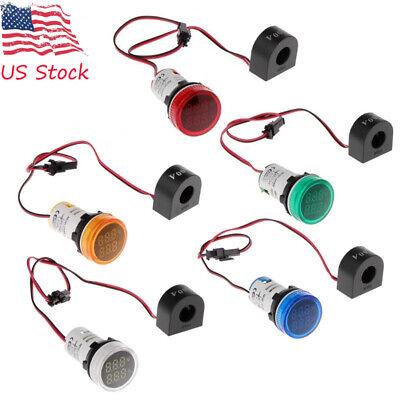 Round 22mm Digital Led Ac Panel Voltmeter 0-100a 50-500v Voltage Display