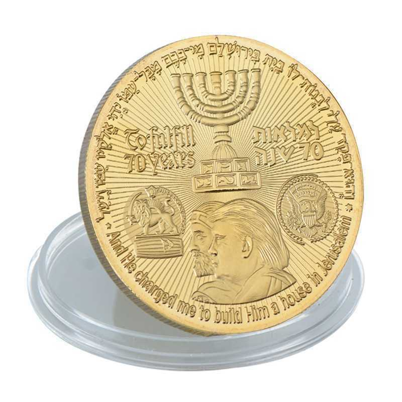 New Donald Trump Gold Plated Coin King Cyrus Jewish Temple Jerusalem Israel