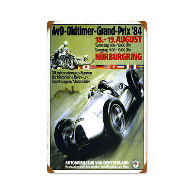 Vintage Style Retro Oldtimer Grand Prix Steel Sign 12 x18
