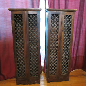 Two Cabinets Dark Wood CD Holders Antique