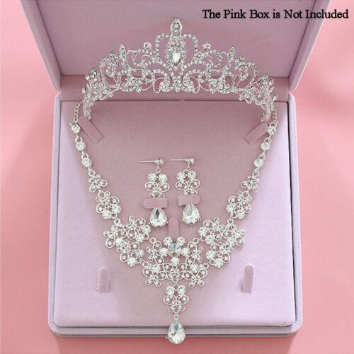 Wedding Tiara Necklace Set Heart Shape Bridal Crystal Rhinestone Jewelry Set