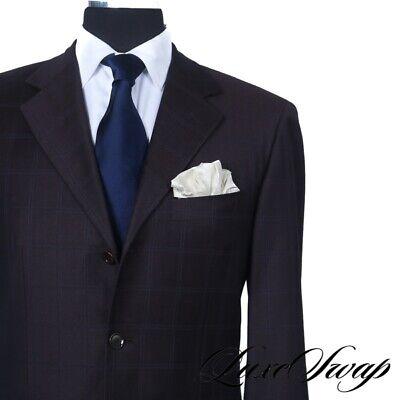 Pal Zileri Made Italy Plum Raisin Infused Brown Subtle Blue Windowpane Suit 52