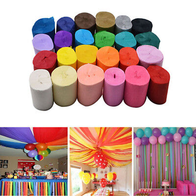 9M Multi-Coloured Crepe Paper Streamer Roll Wedding Party Bunting Home Decor New - Coloured Streamers