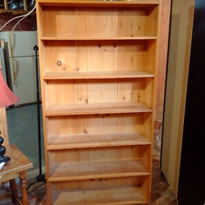 Solid Pine Rustic Bookcase - Natural, Unfinished