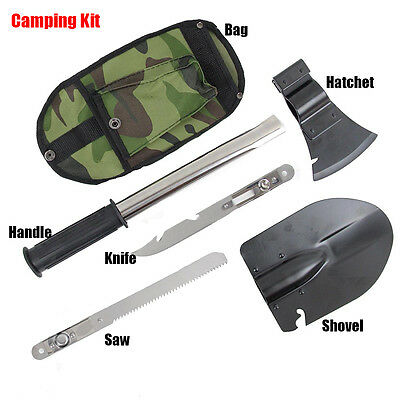 Portable 4 In 1 Camping Hiking Survival Knife Shovel Axe Saw Emergency Tool Kit