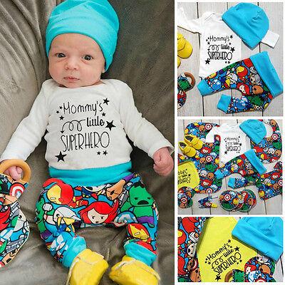 Newborn Baby Boys Superhero T-shirt Pants Leggings 3pcs Outfits Clothes USA wea