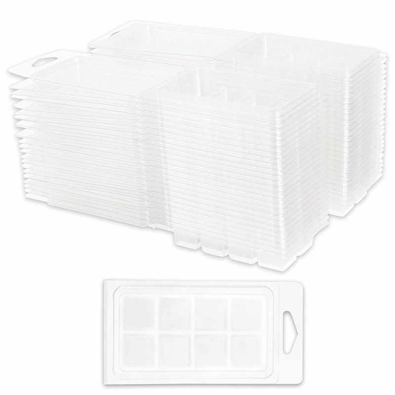50x Wax Melt Molds Clamshell Containers Set 8 Cells (1 x 1/2 in, Clear, Plastic)
