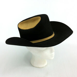 Vintage Biltmore Cowboy Hat Black Brown Rawhide Suede Leather