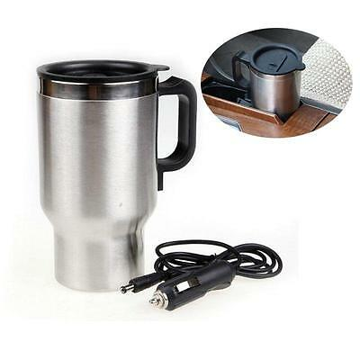 12V Stainless Steel Electric Mug Kettle Car Heated Warm Travel Outdoor Truck Hot