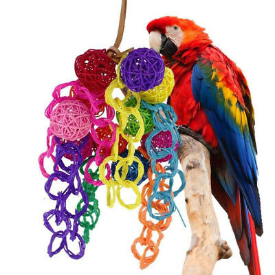 - Parrot's Pet Bird Chew Hanging Cage Wood Large Rope Cave Ladder Chewing Toys A2