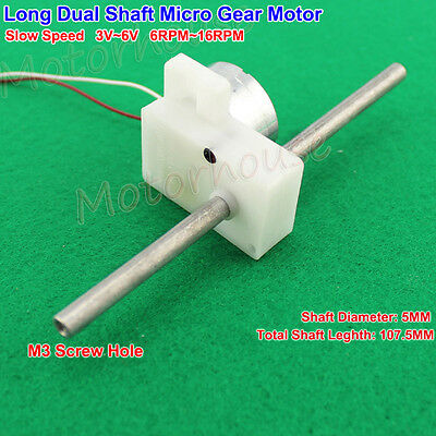 Dc 3v 5v 6v 16rpm Slow Speed Long Dual Shaft Micro Gear Motor Diy Toy Car Hobby