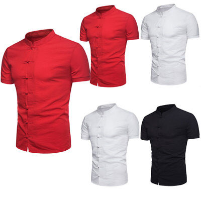 Chinese Men - US Men's Summer Chinese Style Shirt Short Sleeve Casual Shirt Cotton T-Shirts