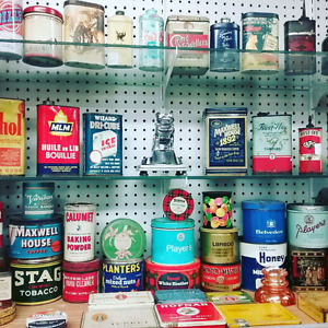 Nostalgia tins, signs, antiques, collectibles plus 1000 booths