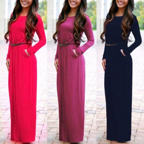 Dress - Womens Boho Long Sleeve Maxi Dress Ladies Party Evening Summer Beach Belt Dress