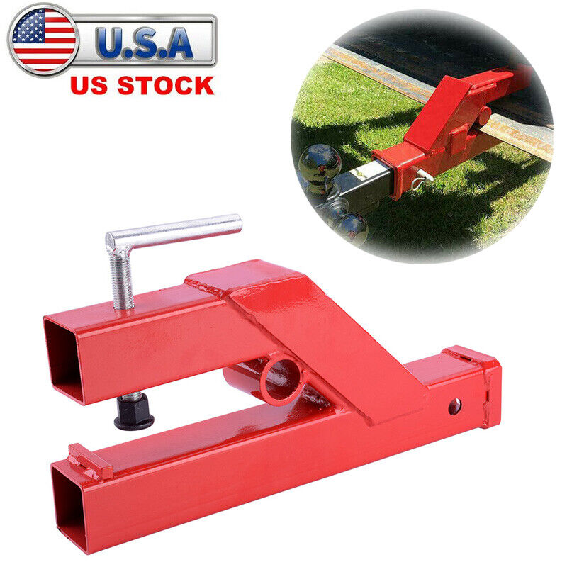 """Clamp On Trailer Receiver Hitch 2"""" Ball Mount Deere Bobcat Tractor Bucket Red"""