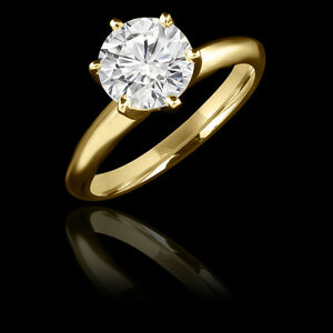 Diamond Engagement Ring 0.95CT Bague de Fiançailles en Or Jaune