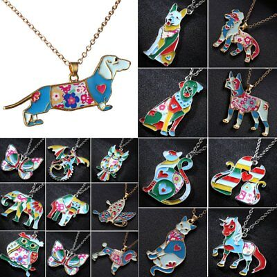 - Fashion Paint Animal Dragon Butterfly Dog Cat Pendant Necklace Women Jewelry New