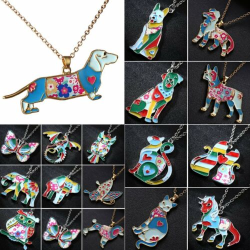 Jewellery - Fashion Paint Animal Dragon Butterfly Dog Cat Pendant Necklace Women Jewelry New