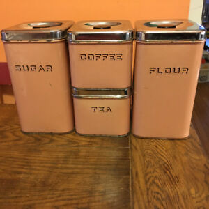 RETRO SET OF PEACH KITCHEN CANNISTERS
