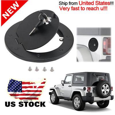 Steel Locking Fuel Door Black Gas Tank Cap Cover Lock Key For 2012+ Jeep -