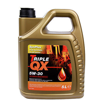 Triple QX SynPlus SAE 5W30 Fully Synthetic Car Engine Oil 5L GM Spec 5 Litre