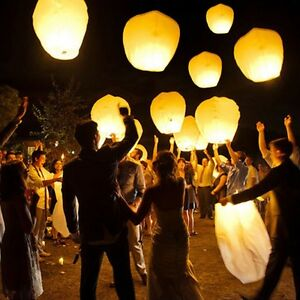 White Paper Chinese Lanterns Sky Fly Candle Lamp for Wish Party London Ontario image 1