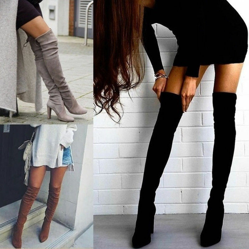 Womens Ladies Thigh High Boots Over The Knee Party Stretch B