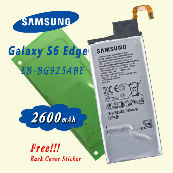 New Battery for Samsung Galaxy S6 Edge EB-BG925ABE SM-G925 include free back cover adhesive sticker