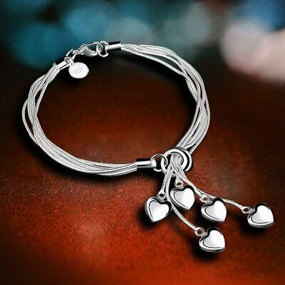 Fashion 925 Silver Heart Bracelet Bangle Women Costume Jewellery Hand Chain Gift - Costume Bracelet