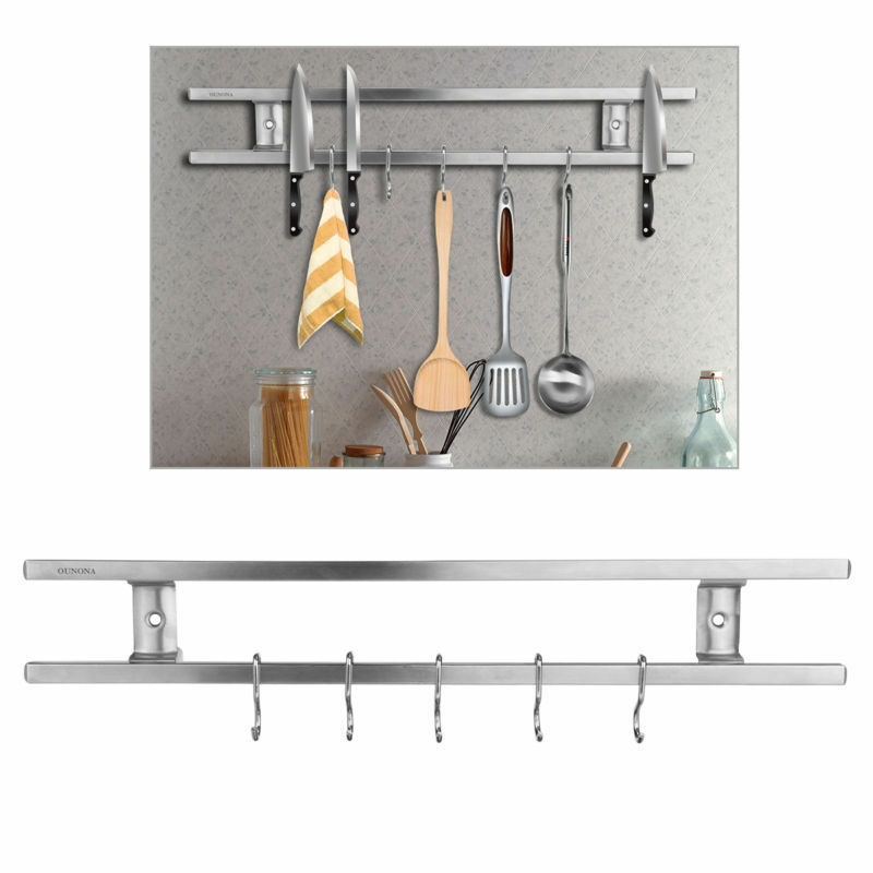 16″ Magnetic Knife Scissor Rack Holder Storage Double Bar Shelf Kitchen Tools US